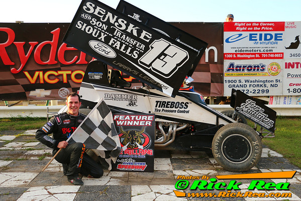 Mark Dobmeier in RydellCars.com Victory Lane for a make up feature at The World Famous Legendary Bullring River Cities Speedway in Grand Forks ND
