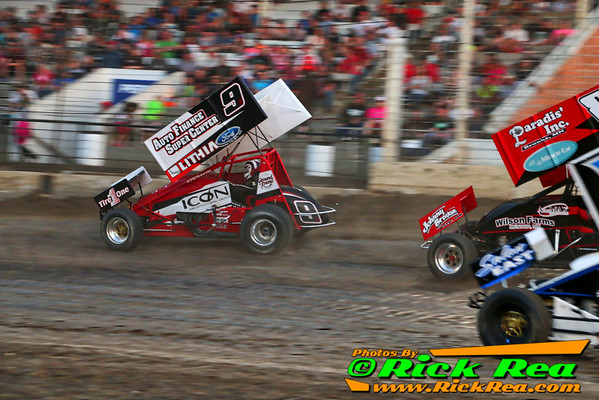 Wade Nygaard NOSA Northern Outlaw Sprint Car Driver from Grand Forks ND in his #9N Auto Finace Super Center, Lithia Ford, ICON Sprint Car taking the lead at The World Famous Legendary Bullring River Cities Speedway in Grand Forks ND