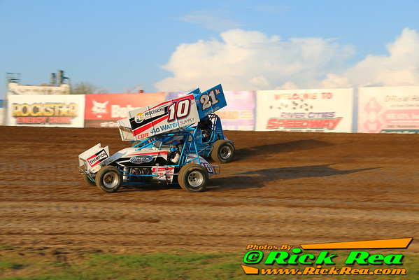 Amber Balcaen in the #10 Ag Water Supply Outlaw Sprint Car from Winnipeg Manitoba Canada, racing side her World Famous Uncle, the one and only Sprint Car Champion #21K Lou Kennedy at The Legendary Bullring River Cities Speedway in Grand Forks ND