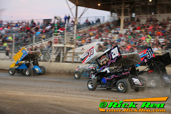 Great 3 and 4 wide Outlaw Sprint Car Racing with #35 Brenden Wilde, #10 Amber Balcaen, #20A Jordan