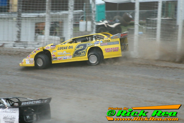 Bill Mooney in his Lucas Oil Sponsored NLRA Late Model riding the cushion to the extreme during the World of Outlaw Late Model show at The World Famous Legendary Bullring River Cities Speedway in Grand Forks ND