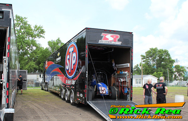 Donny Schatz World of Outlaws Sprint Car Car Hauler in the pits at The Legendary Bullring River Cities Speedway in Grand Forks ND